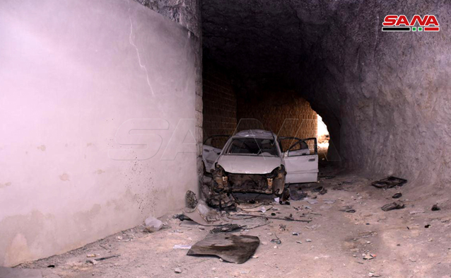 A damaged vehicle in one of the underground tunnels (SANA, March 9, 2020)