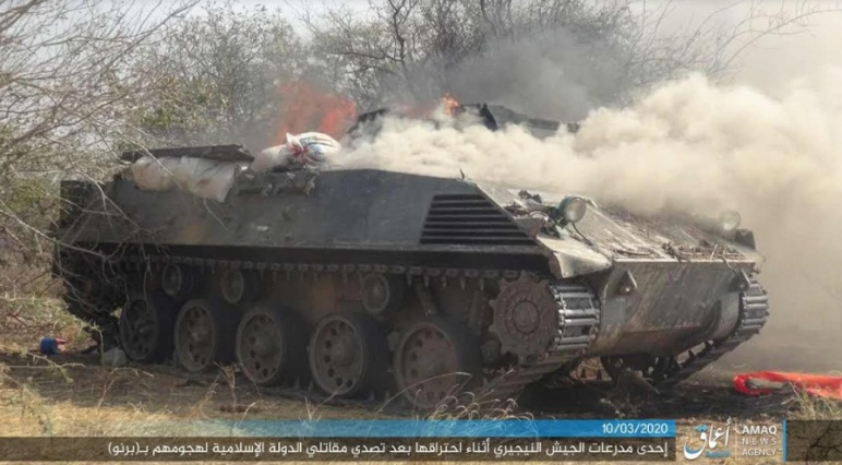 Nigerian army APC set on fire by ISIS operatives during the fighting (Telegram, March 10, 2020)
