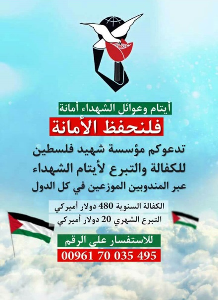 Poster of the Palestinian Martyrs Foundation, calling for donation to the Guarantee Project for orphans (Ya Sour website, October 30, 2016)