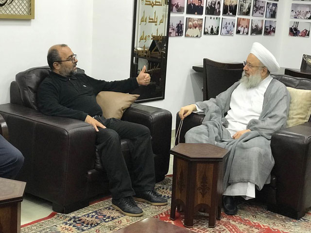 Meeting in Sidon: A delegation of the Palestinian Martyrs Foundation meets with Sheikh Maher Hamoud, chairman of the World Association of Religious Scholars of the Resistance (Saida City website, September 25, 2018). In the ITIC's assessment, the person on the left is Bilal Sa'ad, the director general of the Palestinian Martyrs Foundation.