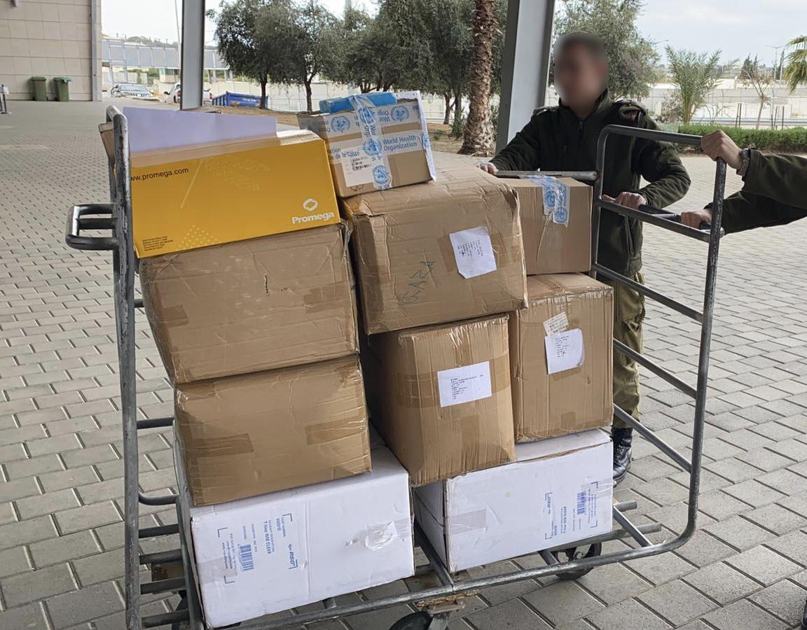 Coronavirus testing kits, delivered to the Gaza Strip through the Erez Crossing by the WHO (COGAT Facebook page in Arabic March 18, 2020).