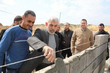 Yahya al-Sinwar pays a visit to the site where quarantine units are being constructed in the northern Gaza Strip.