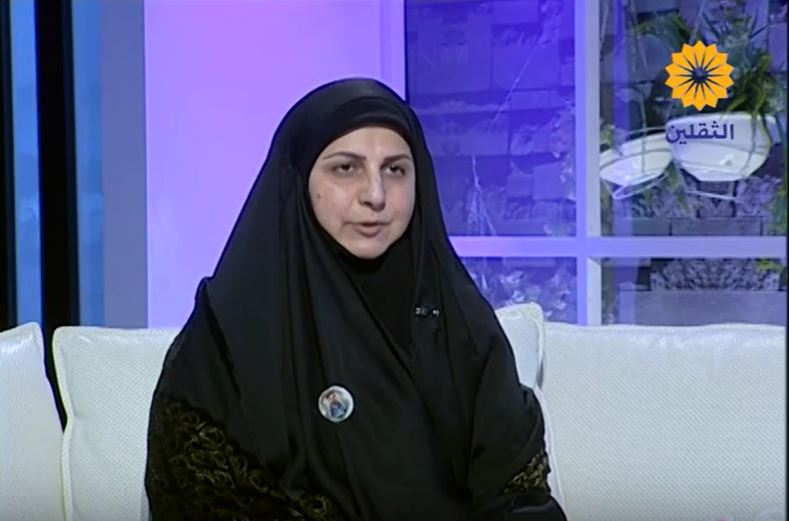 Najwa Raad, in charge of the Documentation and Writing Department in the Association for the Revival of Resistance Legacy (YouTube channel of the Al-Thaqalayn Satellite TV, February 6, 2019)