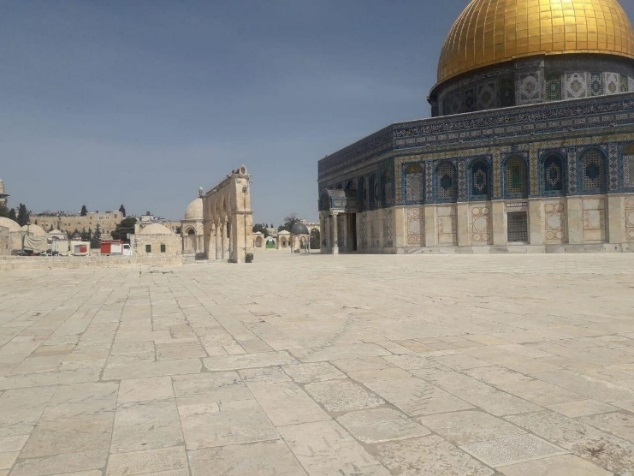 The Temple Mount compound, empty of Muslim worshippers (Palinfo Twitter account, March 23, 2020).