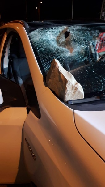 A rock that hit an Israeli vehicle (IDF Twitter account, March 23, 2020).