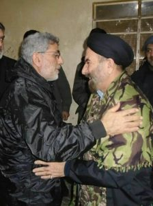 Esmail Qa'ani alongside the former Majlis member, Ali-Mohammad Bozorgvari, who left to the frontlines in Syria during February. The photograph was likely taken during Qa'ani's last visit to Syria in February 2020 (Telegram channel linked to Esmail Qa'ani, March 7, 2020)