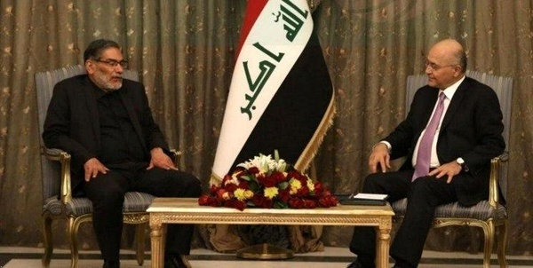 A meeting between the Iraqi President, Barham Salih, and Ali Shamkhani (ILNA, March 9, 2020)