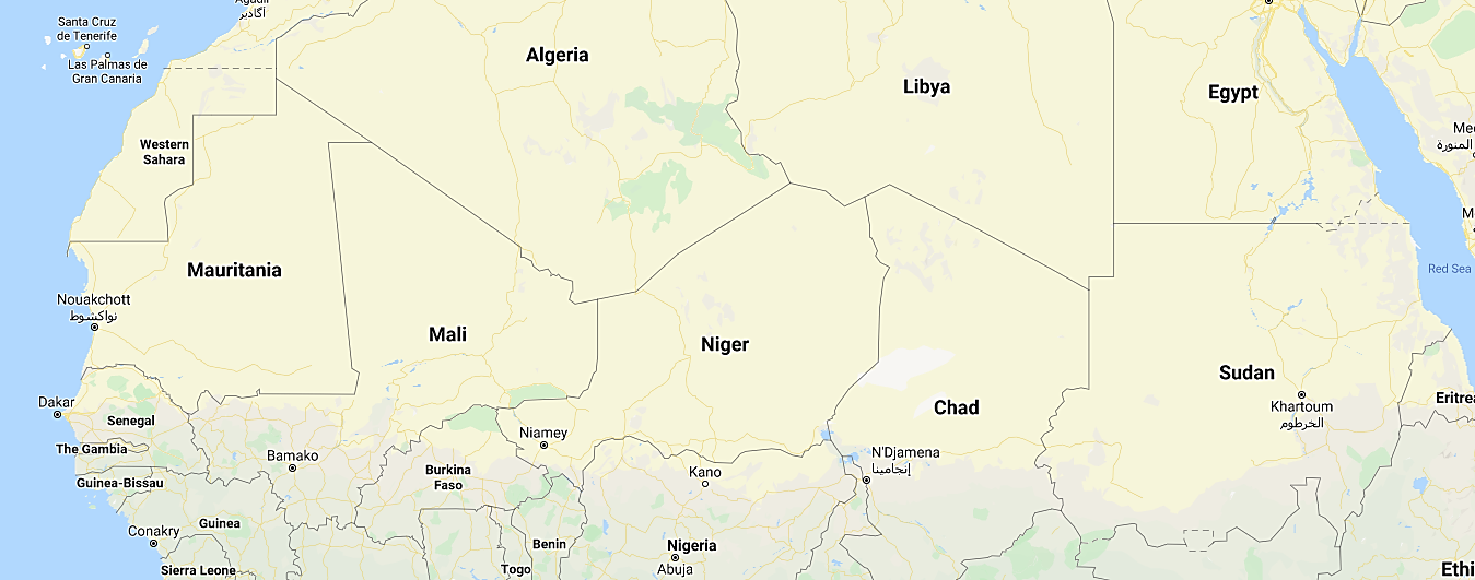 The Sahel countries (Google Maps)