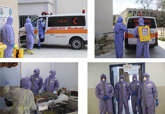 Exercise in admitting and treating COVID-19 patients (Facebook page of the Health Ministry in the Gaza Strip, April 2, 2020)