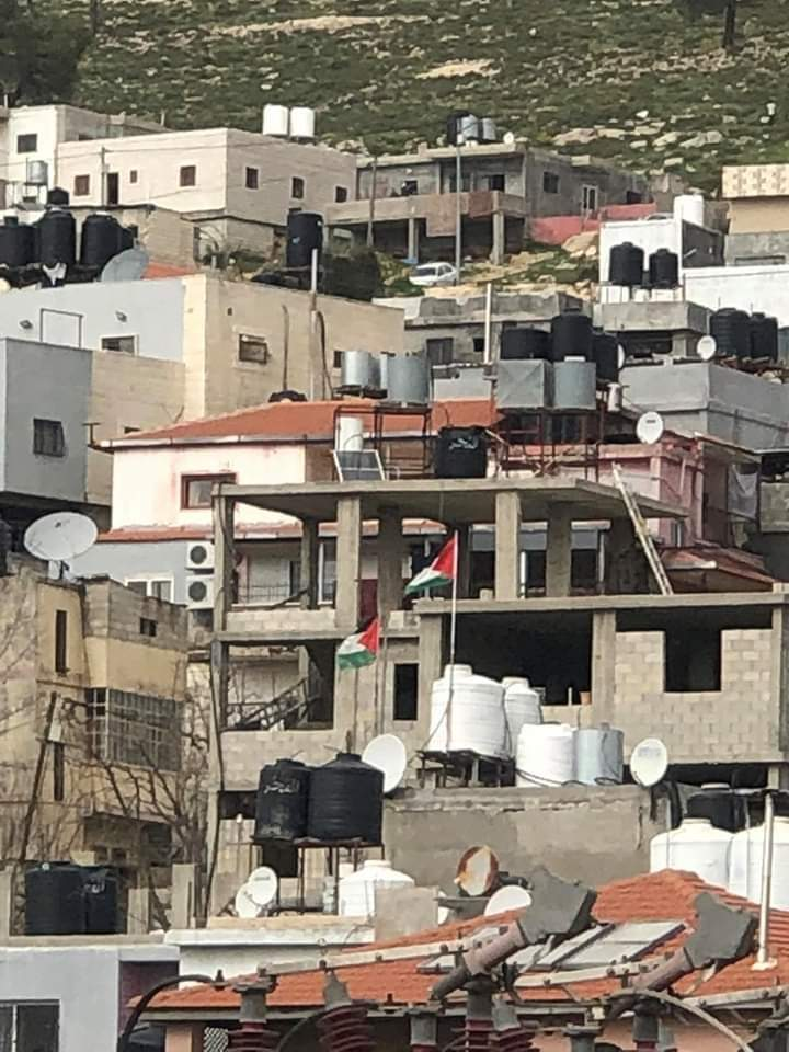 Flying the Palestinian flag in al-Aroub (north of Hebron) (Palinfo Twitter account, March 30, 2020).