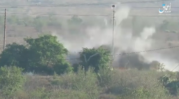 Cloud of dust rising from the scene of the IED explosion