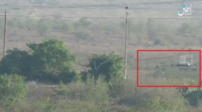 Egyptian army minesweeping vehicle before an IED was activated against it west of Rafah.