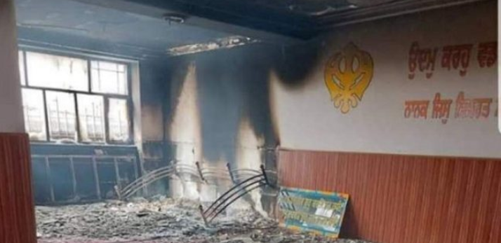 Devastation and signs of fire at the Sikh house of worship where a suicide bombing attack was carried out by ISIS (Afghanistan Times, March 25, 2020).