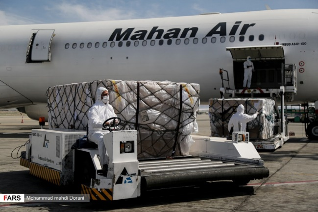 Transfer of medical equipment by Mahan Air (Fars, March 20, 2020).