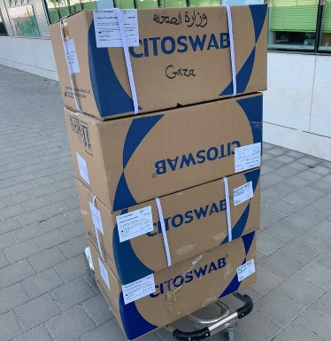 Shipment of swabs sent to the Gaza Strip (COGAT's Facebook page, April 3, 2020)