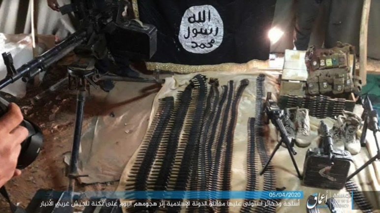 Weapons and ammunition seized by ISIS in an attack against an Iraqi army camp near Al-Rutba (Telegram, April 5, 2020)