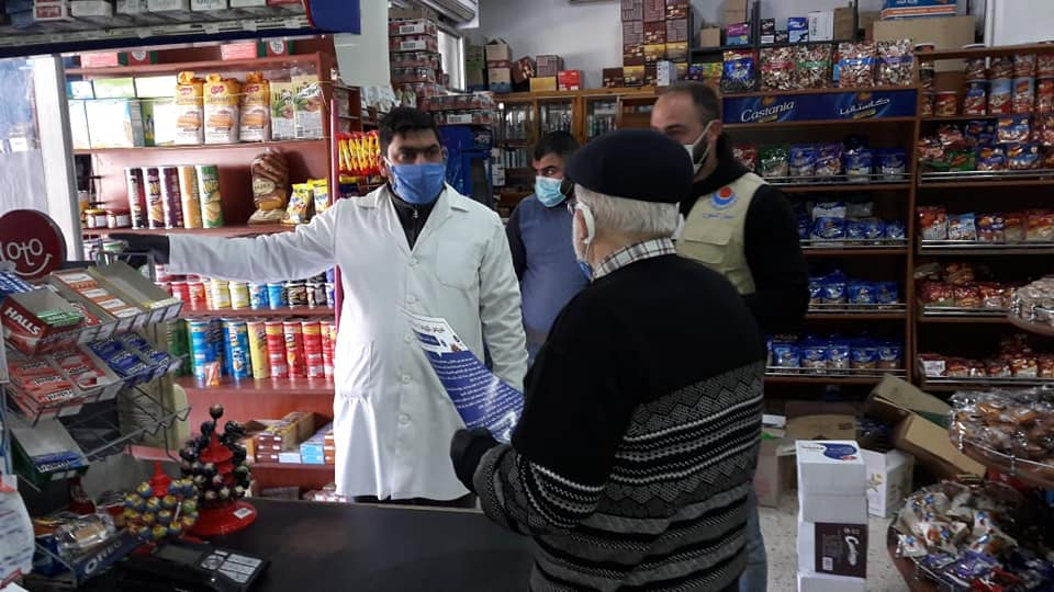 Awareness campaign in stores and essential institutions in Al-Kaffour, southern Lebanon (Rassed Network's Facebook page, March 26, 2020)
