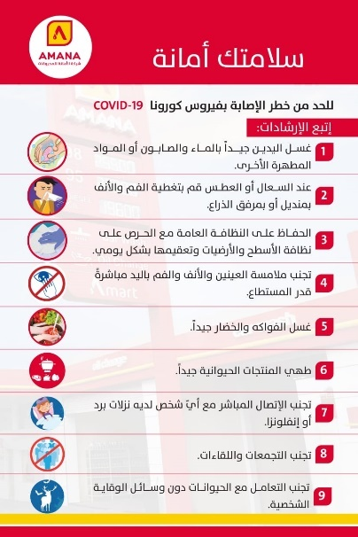 "Instructions to prevent COVID-19 infection published by the Al-Amana gas station network owned by Hezbollah's Martyrs Foundation, under the title ""Your health is a deposit [in Arabic, ""Amana,"" the gas station network name]"" (Twitter account of the Al-Amana gas stations network, March 24, 2020)"