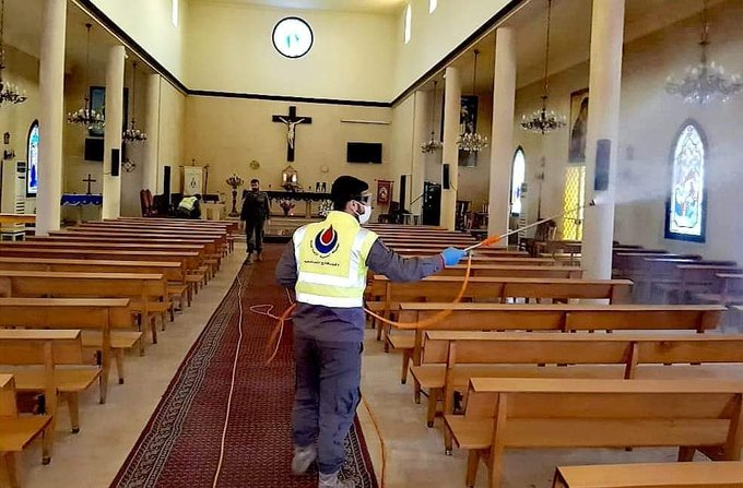 Operatives of the Islamic Health Organization disinfecting churches and monasteries in the Christian village of Aishiya, in southern Lebanon (Mohammad Samaha's Twitter account, March 8, 2020)