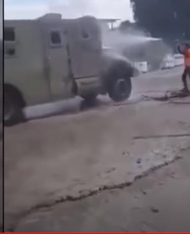IDF vehicle disinfected by Palestinians at the entrance to the village of Yatta (south of Nablus) (Israeli TV channel Kan 11, April 12, 2020). The disinfection is meant to send the message that IDF vehicles carry the coronavirus.