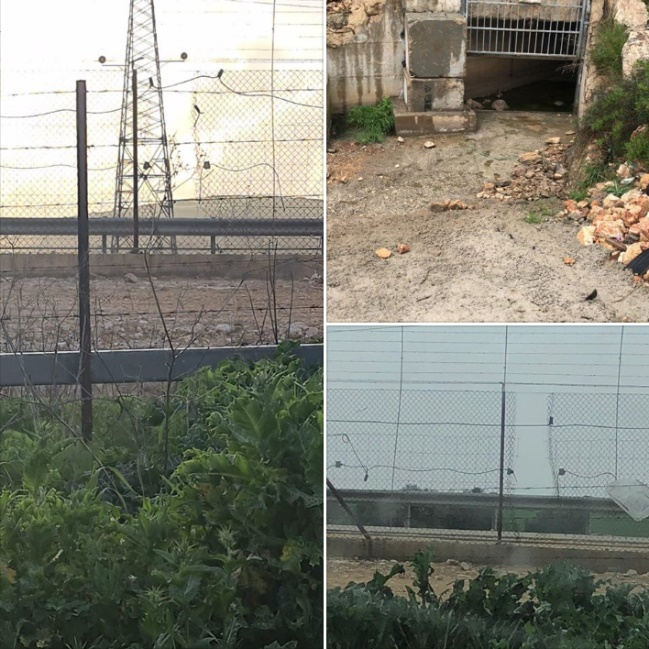 Pictures of holes in the security fence made, according to the governor of the Ramallah district, by Palestinian workers (Facebook page of Layla Ghnam, April 11, 2020).