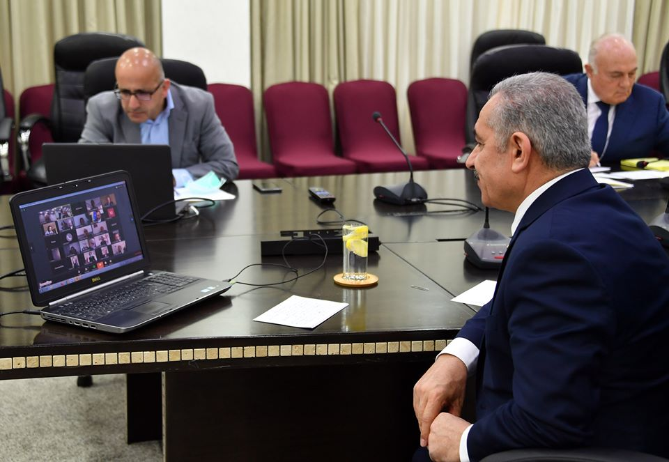 PA Prime Minister Muhammad Shtayyeh video-conferences with foreign representatives (Facebook page of Muhammad Shtayyeh, April 9, 2020).