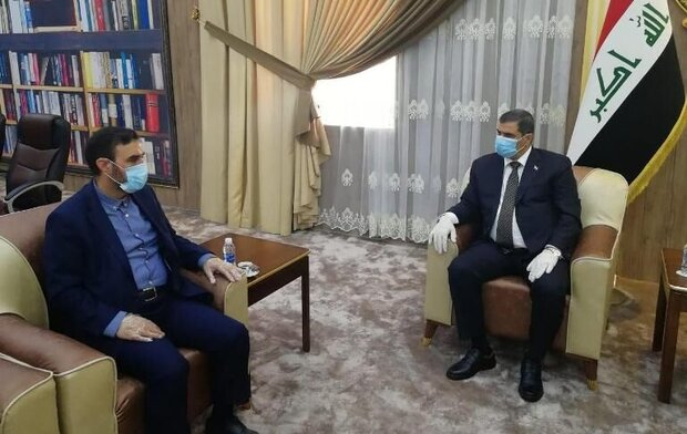 The meeting between the Iraqi minister of defense and Iranian military attaché in Baghda (Mehr, April 9, 2020)