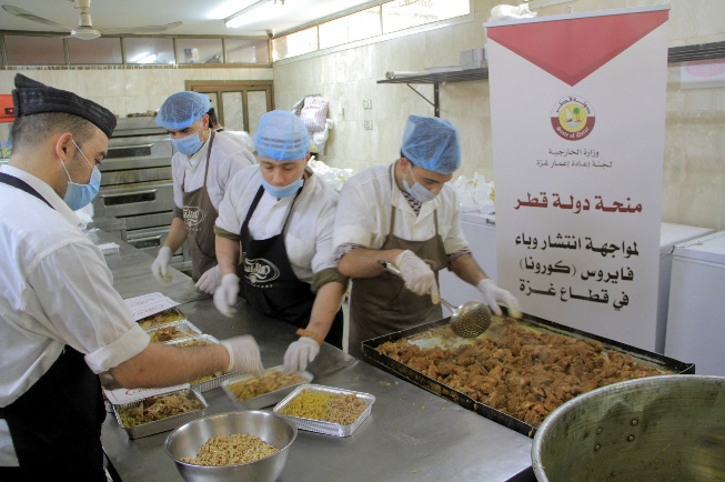 Supplying ready meals to the quarantine centers financed by a $150 million grant to the Gaza Strip announced by the Emir of Qatar (Twitter account of the Qatari Committee to Rebuild Gaza, April 14, 2020)