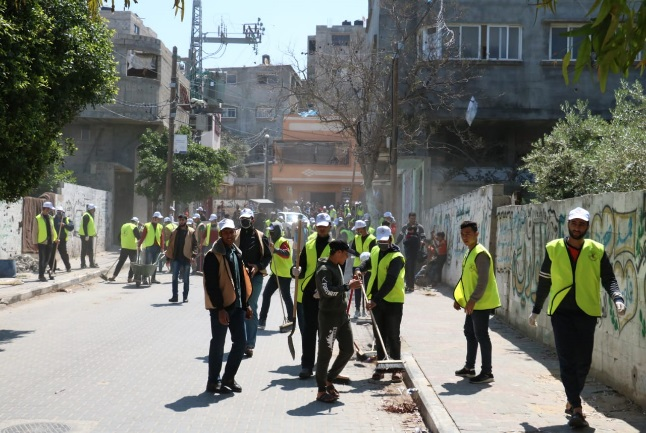 PIJ clean-up operation in Gaza City (Twitter account of the Gaza branch of the PIJ, April 13, 2020)