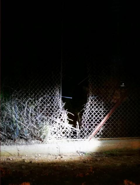 One of three sites where the security fence on Israel's norther border was damaged (Twitter account of INTELsky, April 18, 2020).