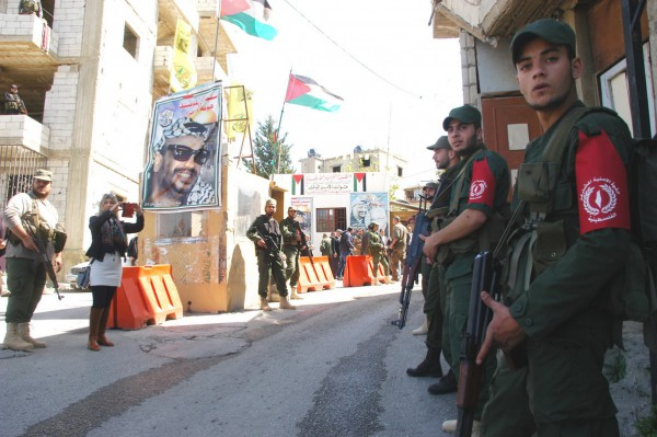 Members of the Joint Palestinian Security Force in the Mieh Mieh refugee camp (Dunya Al-Watan, March 24, 2015)