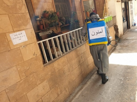 PIJ-led disinfection campaigns on the streets of the El-Buss refugee camp and at the entrance to the camp (Al-Quds News Agency, March 20, 2020; local news website of the El-Buss camp, March 30, 2020)