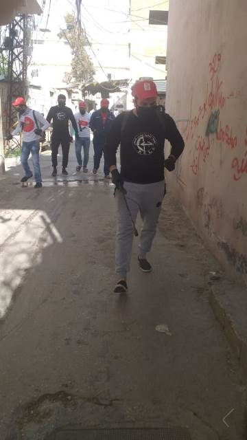 Disinfection campaign of the Shaheed Wadi' Haddad team in the Rashidieh camp on the anniversary of his death (website of the PFLP in Lebanon, March 28, 2020).