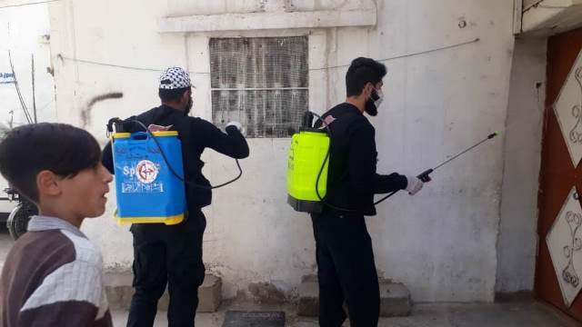 Disinfection campaign of the PFLP youth movement in the Al-Jalil refugee camp (website of the PFLP in Lebanon, March 24, 2020).
