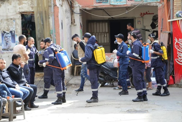 Disinfection campaign of the Palestinian Civil Defense in the Burj el-Barajneh refugee camp (website of the Palestinian Return Center, March 16, 2020).