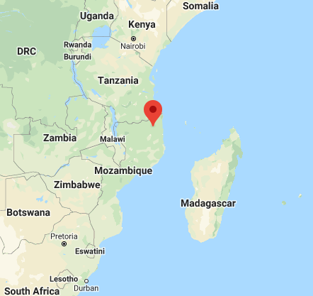 The Cabo Delgado region (marked in red). This region is located not far from the border with Tanzania and includes a coastal strip (Google Maps).