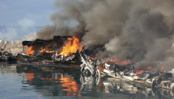 Boats going up in flames after being set alight by ISIS operatives (Al-Naba', April 16, 2020)