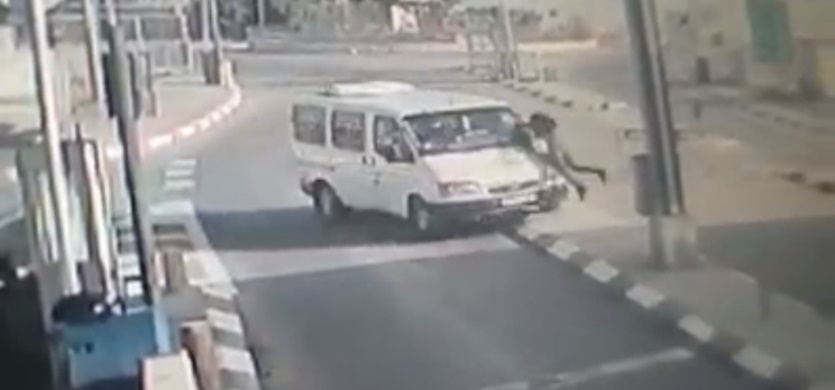 Security camera documentation of the attack. Right: The Palestinian terrorist rams into a Border Police fighter.