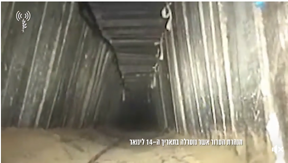The tunnel attacked by the IDF. Its route passed under the Kerem Shalom Crossing.