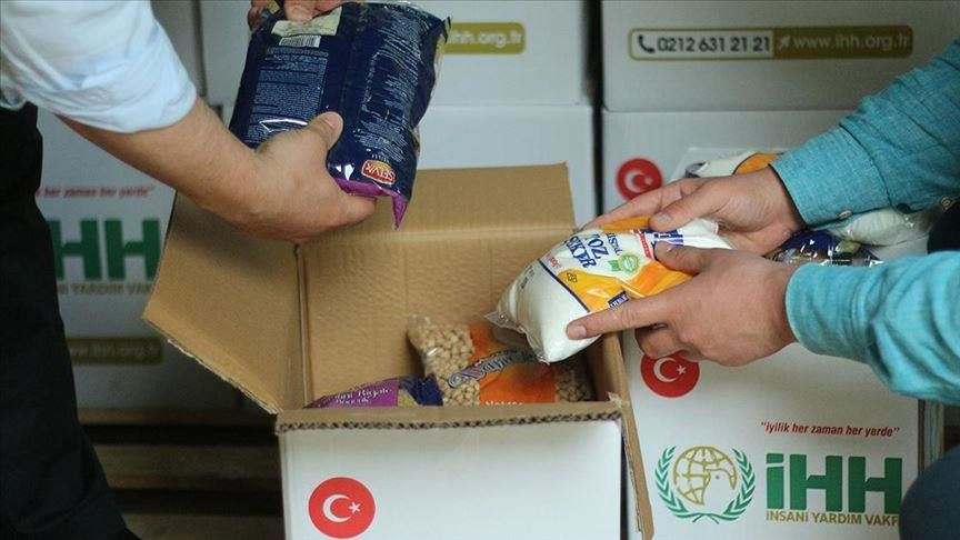 Food packages distributed by IHH in the Gaza Strip (al-Andalou News, April 26, 2020).