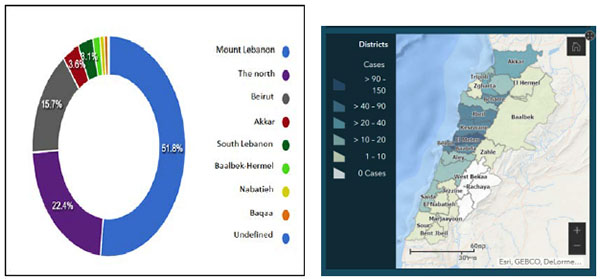 Right: Map showing the number of patients in each district in Lebanon (Lebanese Ministry of Health website, May 1, 2020). Left: Diagram showing the percentage of patients in each district in Lebanon (Lebanese Ministry of Health website, May 1, 2020).