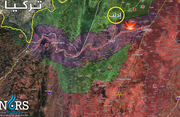 """M-4 highway and the village of Al-Nayrab, near the scene of the incident (marked with an illustration of an explosion). The """"safe corridor"""" on both sides of the road, in accordance with the Russian-Turkish agreement, is marked in purple. The area controlled by the Syrian army is marked in red, and the area controlled by the Headquarters for the Liberation of Al-Sham and the other rebel organizations is marked in green. The border between Syria and Turkey is marked by a yellow line (Syrian NORS Institute for Strategic Studies, March 7, 2020)."""
