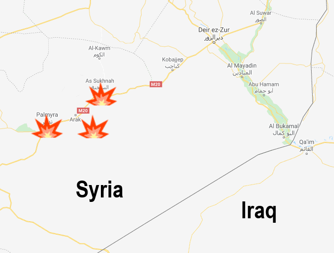 ISIS's region of activity: Palmyra, Al-Sukhnah, and the T-3 Pumping Station (Google Maps)