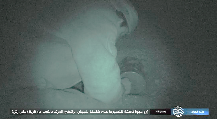 IED being planted against an Iraqi army truck south of Makhmur (Telegram, April 25, 2020)