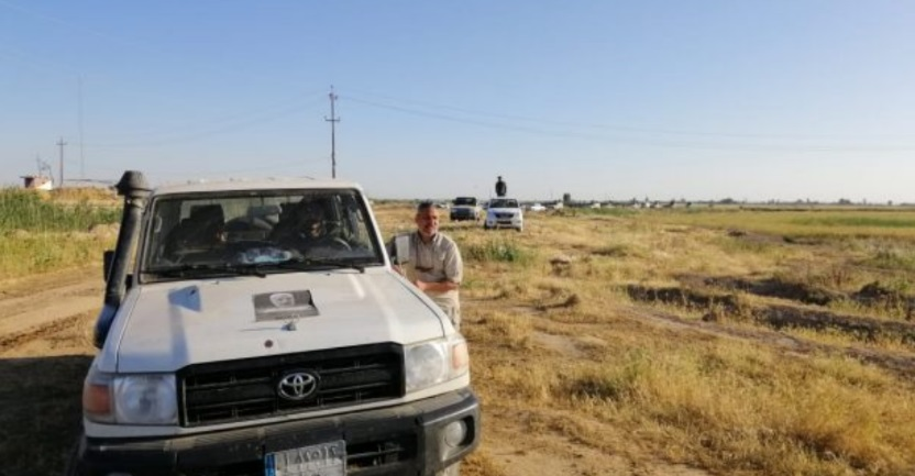 27, 2020). A photo of Abu Mahdi al-Muhandis, deputy commander of the Popular Mobilization, is visible on the hood of the vehicle (Al-Muhandis was killed in a targeted killing along with Qods Force Commander Qassem Soleimani).