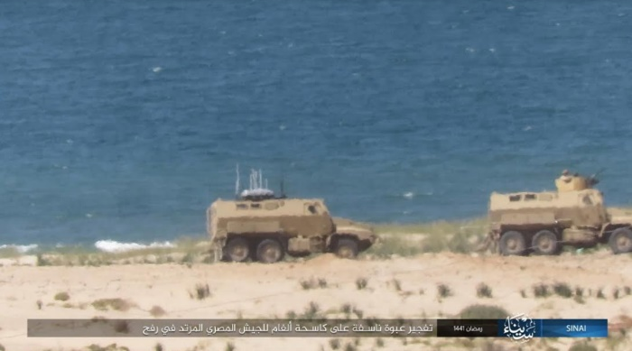 Egyptian army minesweeping vehicle in Rafah before an IED was activated against it.