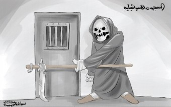 "The PA daily newspaper al-Hayat al-Jadeeda, the official PA organ, continues its incitement and propaganda against Israel: the alleged danger of death to Palestinian prisoners in Israeli jails. The Arabic reads, ""The Israeli prisons"" (al-Hayat al-Jadeeda, April 29, 2020)."