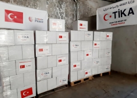 Food packages funded by Turkish organizations and delivered to the Gaza Strip (website of the ministry of Muslim endowments in Gaza, April 28, 2020).