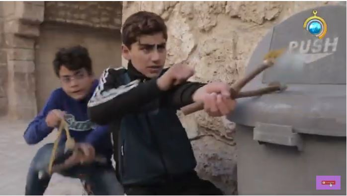 "A picture from an episode called ""Slingshot"" dealing with how young Palestinians use slingshots to attack IDF spokesman soldiers."