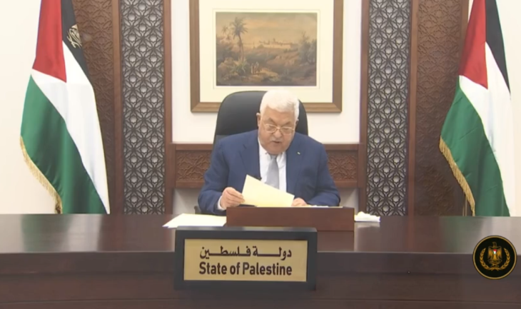 Mahmoud Abbas speaks before the unaligned nations forum (Facebook page of Mahmoud Abbas, May 4, 2020).